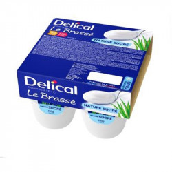 DELICAL le Brassé Nature Sucré - Crème Dessert Lactée HP/HC Denrée Alimentaire sans Gluten - 4x 200g