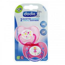Dodie 2 Sucettes Anatomiques Silicone +18 mois Rose Fleurs et Danseuse A471