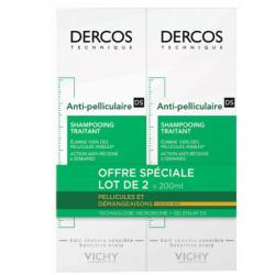 Vichy Dercos Shampooing Traitant Anti-Pelliculaire Cheveux Secs Lot de 2 x 200 ml
