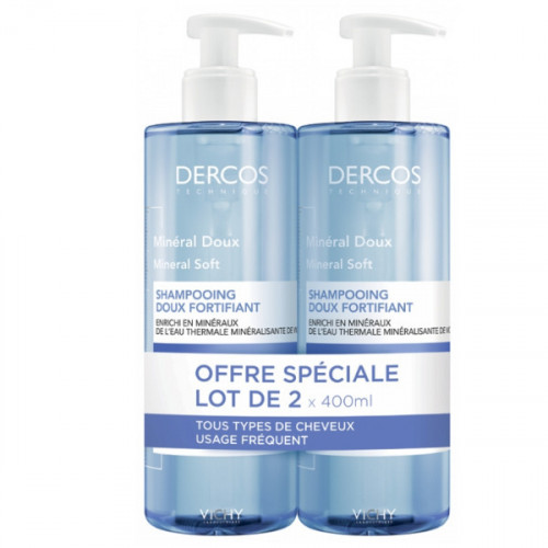 Vichy Dercos Shampooing Minéral Doux Lot de 2 x 400 ml