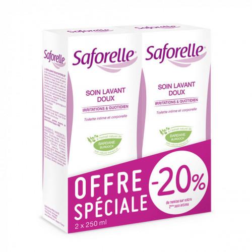 Saforelle Soin Lavant Doux Hygiène Intime et Corporelle 250ml, lot de 2