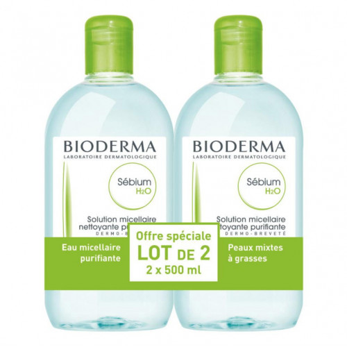 Bioderma Sébium H2O Solution Micellaire Lot de 2 x 500 ml