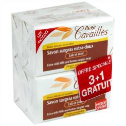 Rogé Cavaillès Savon Surgras Extra Doux Lait Miel 250 g Lot de 3 + 1 gratuit