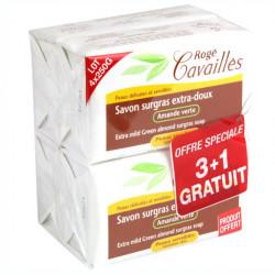 Rogé Cavaillès Savon Surgras Extra Doux Amande Verte 250 g Lot de 3 + 1 gratuit