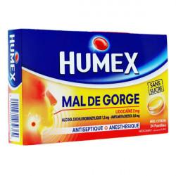 Humex Mal de Gorge miel citron sans sucre 24 pastilles