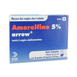AMOROLFINE ARROW 5 %, vernis à ongles médicamenteux, boîte de 1 flacon (+ 30 spatules et accessoires) de 2,50 ml