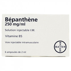 BEPANTHENE 250 mg/ml, solution injectable I.M., boîte de 6 ampoules de 2 ml