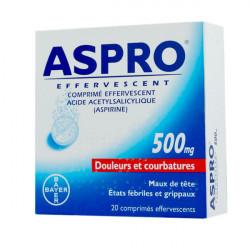 ASPRO 500 EFFERVESCENT, 20 comprimés effervescents
