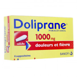 Doliprane 1000 mg adulte 8 suppositoires
