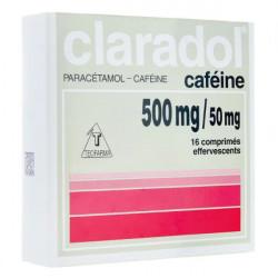 Claradol 500 mg caféiné 16 comprimés effervescents