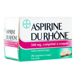 ASPIRINE DU RHONE 500 mg, 20 comprimés à croquer