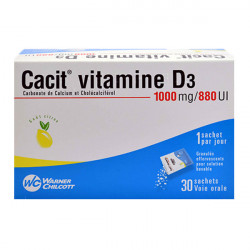 CACIT VITAMINE D3 1000 mg/880 UI, granulés effervescents pour solution buvable 30 sachets