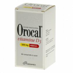 OROCAL VITAMINE D3 500 mg/400 U.I., 60 comprimés à sucer