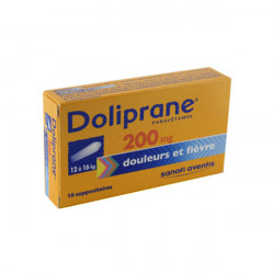 DOLIPRANE 200 mg, suppositoire, boîte de 10