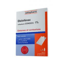 DICLOFENAC TEVA CONSEIL 1 %, emplâtre médicamenteux, boîte de 1 sachet de 5
