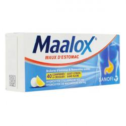 Maalox maux d'estomac citron sans sucre 40 comprimés à croquer