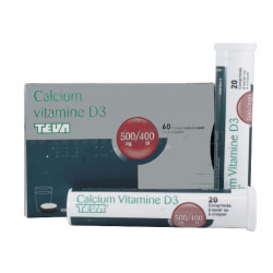 CALCIUM VITAMINE D3 ARROW 500 mg/400 UI, comprimé à sucer ou à croquer, boîte de 1 tube de 60