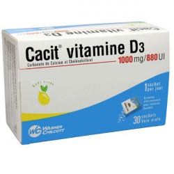 CACIT VITAMINE D3 1000 mg/880 UI, granulés effervescents pour solution buvable 90 sachets