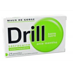 DRILL SANS SUCRE ANIS MENTHE, pastille édulcorée à l'isomalt et à l'acésulfame de potassium, boîte de 24