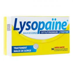 Lysopaïne menthe sans sucre 36 comprimés à sucer