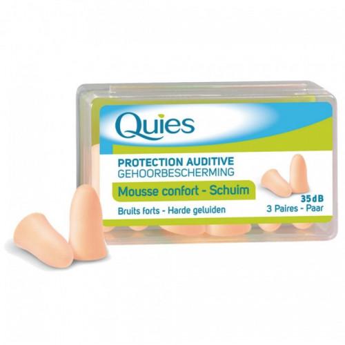 QUIES PROTECTION AUDITIVE EN MOUSSE 3 PAIRES - COULEUR : COULEUR CHAIR