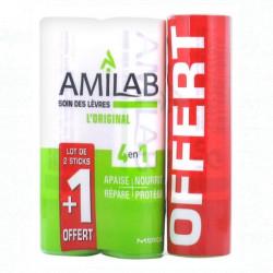 Amilab Soin des Lèvres Lot de 3 Sticks dont 1 Offert