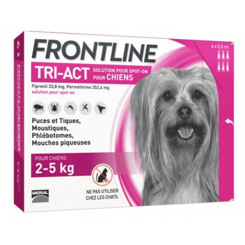 Frontline Tri Act spot on Très Petit Chien 2 - 5 kg 6 pipettes