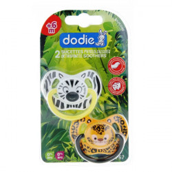 Dodie Duo sucette physiologique silicone +6 mois Jungle