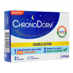 Chronodorm Double action Mélatonine 1,9mg et Plantes 15 comprimés