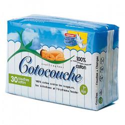 COTOCOUCHE Couche pour bébé, matelassée, 100 % coton 1er âge (ref. 103)Boîte/30