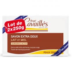 Rogé Cavaillès Savon Surgras Extra Doux Lait et Miel Lot de 2 x 250 g