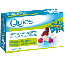 QUIES Protection auditive en silicone spécial baignade, enfant 3 paires
