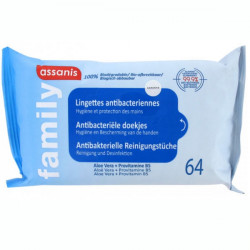 Assanis Family Lingettes Antibactériennes 64 Lingettes