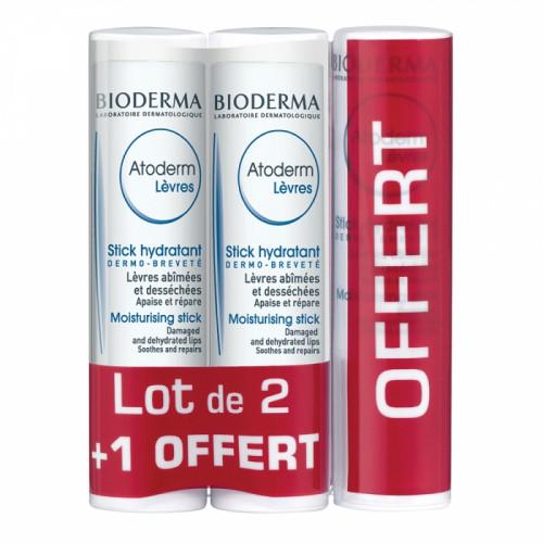 Bioderma Atoderm Lèvres Stick Hydratant 2 + 1 Offert