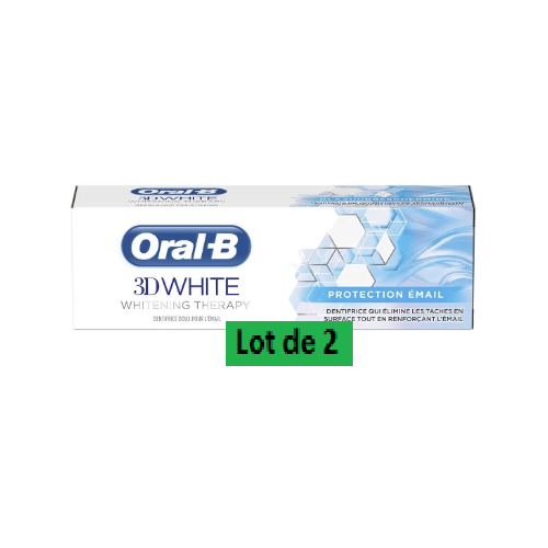 ORAL-B 3D WHITE DENTIFRICE Protection Email - Lot de 2x75ml