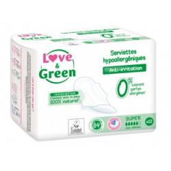 LOVE & GREEN SERVIETTES HYPOALLERGENIQUES SUPER 12