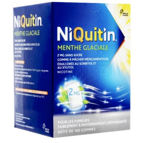 Niquitin 4 mg menthe glaciale sans sucre 100 gommes à mâcher