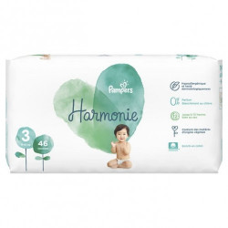 PAMPERS COUCHES HARMONIE Taille 3 (6 à 10kg) - 74 Changes
