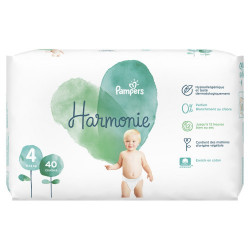PAMPERS COUCHES HARMONIE Taille 4 (9 à 14kg) - 66 Changes