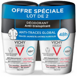 VICHY HOMME DÉODORANT BILLE ANTI TRACES x 2 - 50 ml