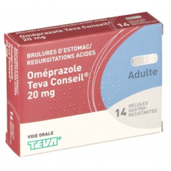 OMEPRAZOLE TEVA CONSEIL 20 mg, gélule gastro-résistante, boîte