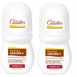 CAVAILLES DÉODORANT ABSORB+ Homme 48h - Roll-on Lot de 2x50ml