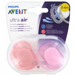 PHILIPS ULTRA AIR 0-6 MOIS ROSE - 2 Sucettes