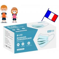 MASQUE CHIRURGICAL FRANCAIS Enfant 6-10 Ans x 50 Masques - Bleu