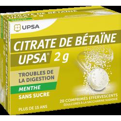 UPSA CITRATE DE BETAINE - 2g Menthe Sans Sucre - 20 Comprimés