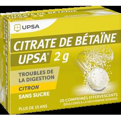 UPSA CITRATE DE BETAINE - 2g Citron Sans Sucre - 20 Comprimés