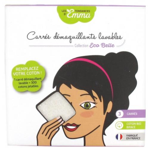 LES TENDANCES D'EMMA 3 Carrés Démaquillant Lavable En Coton Bio