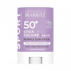 BIARRITZ STICK SOLAIRE SPF50+ SPORT/ VOYAGE MAUVE CERTIFIÉ BIO