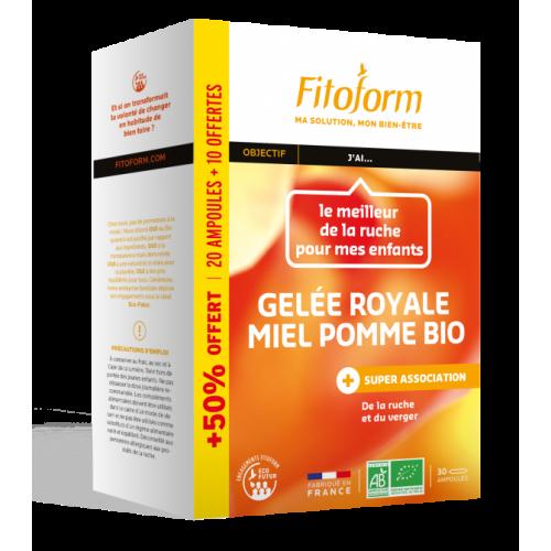 FITOFORM GELÉE ROYALE MIEL POMME BIO AMPOULES - 20 + 10 OFFERTS