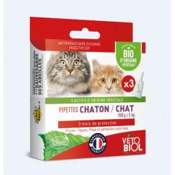 VETOBIOL BIO ANTIPARASITAIRE Chaton & Chat - 3 Pipettes